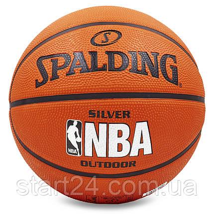 М'яч баскетбольний гумовий №5 SPALDING 83014Z 2014 NBA SILVER Outdoor (гума, бутил, оранжевий), фото 2