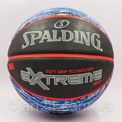 М'яч баскетбольний гумовий №7 SPALDING 83501Z NBA Extreme SGT (гума, бутил, чорний-синій), фото 2