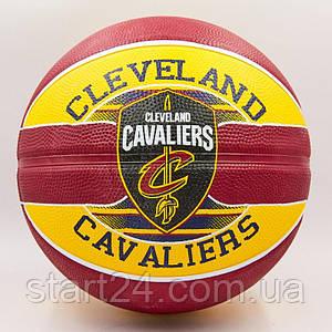 Мяч баскетбольный резиновый №7 SPALDING 83504Z NBA Team CLAVELAND CAVA (резина, бутил, красный-желтый)