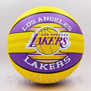 Мяч баскетбольный резиновый №7 SPALDING 83510Z NBA Team LA LAKERS (резина, бутил, желтый-фиолетовый)