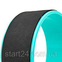 Колесо-кільце для йоги FI-8374 Fit Wheel Yoga (EVA, PP, р-р 33х13см, чорний-бірюзовий), фото 3