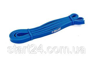 Резина для подтягиваний (лента силовая) FI-941-2 POWER BANDS (размер 2000x13x4,5мм, жесткость XXS, синий)
