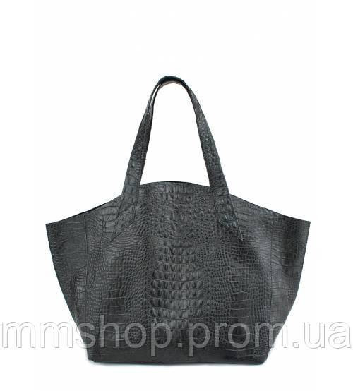 Сумка женская кожаная POOLPARTY Fiore Leather Handbag Crocodile чёрная, фото 1