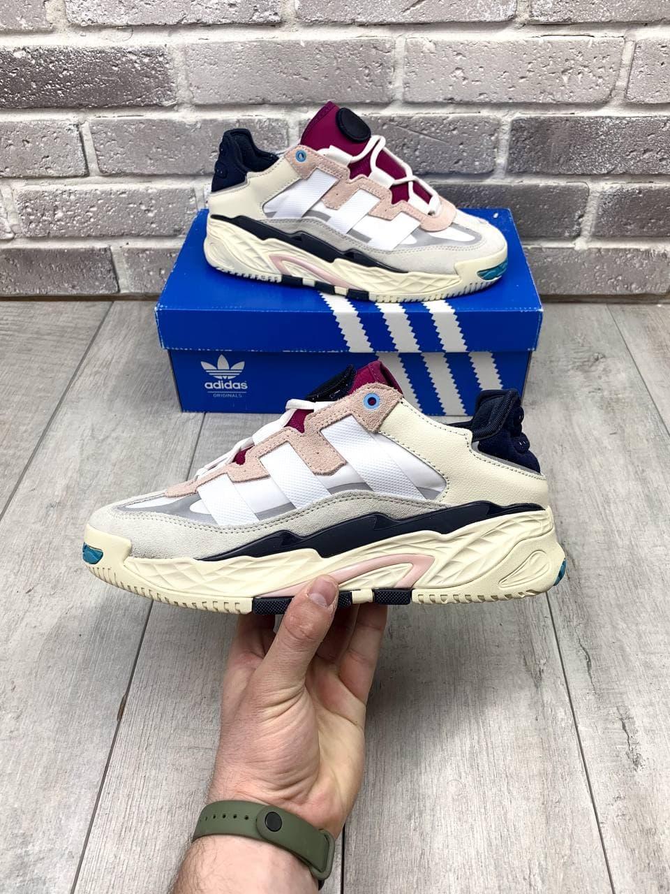 Мужские кроссовки Adidas Niteball Кожаные Белые, Реплика Люкс