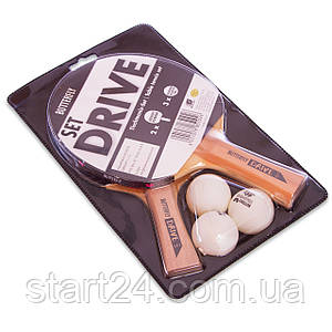 Набор для настольного тенниса 2 ракетки, 3 мяча BUTTERFLY 85102 DRIVE SET (древесина, резина)