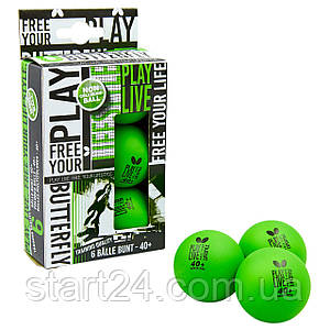 Набор мячей для настольного тенниса 6 штук BUTTERFLY 85215 FREE YOUR LIFESTYLE (пластик, d-40мм, салатовый)