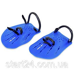 Лопатки для плавання гребні PL-6392 (пластик, резина, р-р S, L, синій, помаранчевий, сірий)