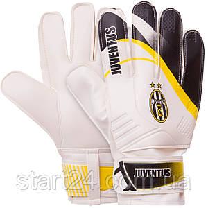 Перчатки вратарские FB-0187-3 JUVENTUS (PVC, р-р 8-10, белый-черный)