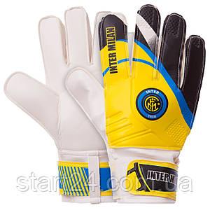 Перчатки вратарские FB-0187-5 INTER MILAN (PVC, р-р 8-10, желтый-черный)