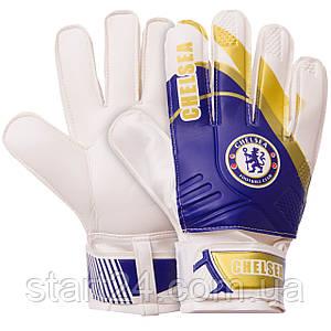 Перчатки вратарские FB-0187-8 CHELSEA (PVC, р-р 8-10, синий-белый)