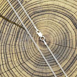Серебряная цепочка родированная Панцирная ширина 1 мм  длина 50