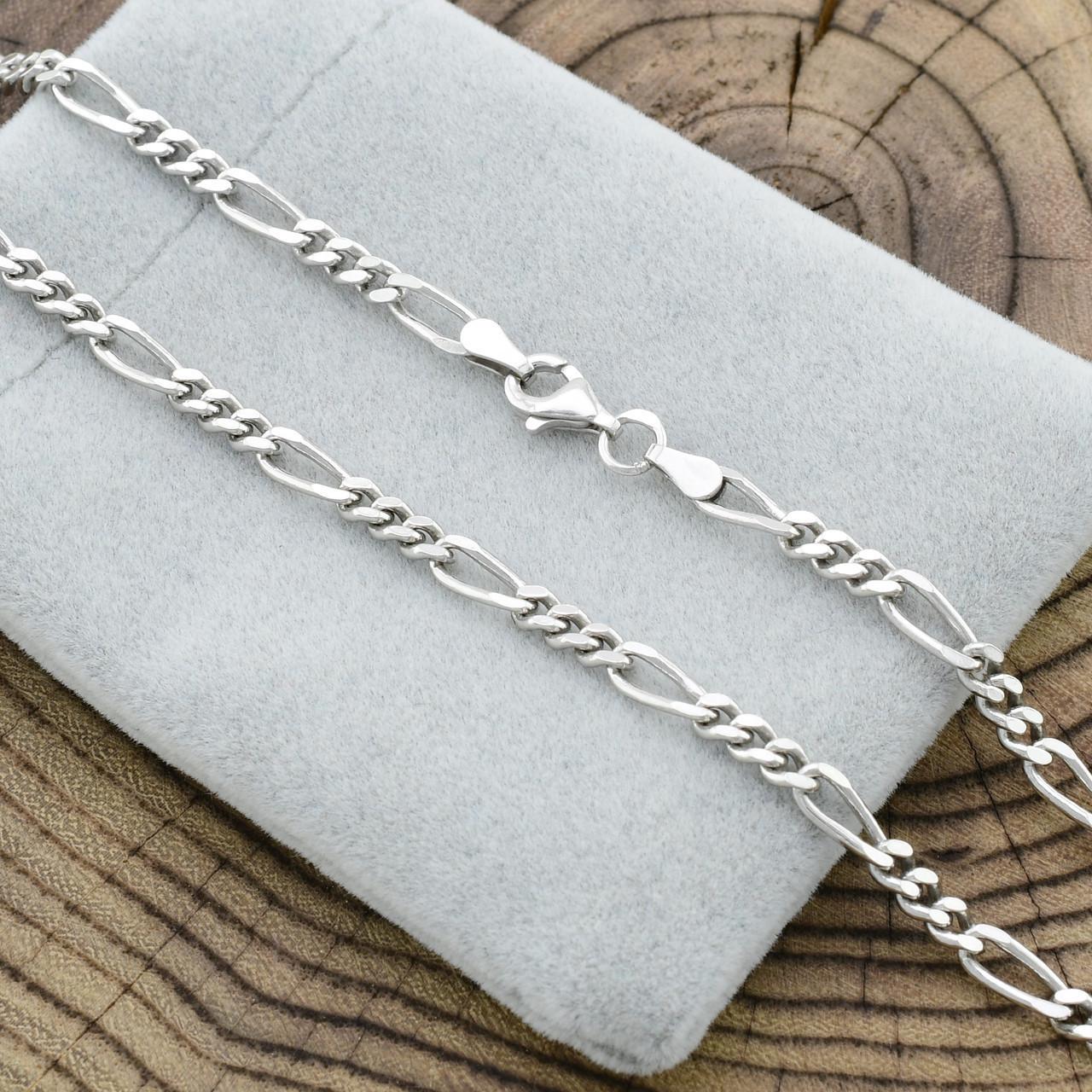 Серебряная цепочка родированная Фигаро ширина 3.5 мм  длина 50