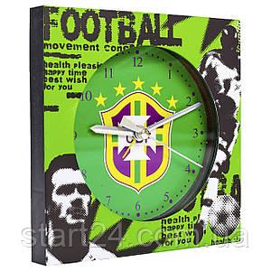 Часы настольные футбольные с будильником BRASIL FB-1963-CBF (пластик, р-р 12*12см)