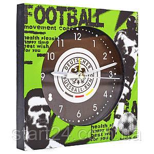 Часы настольные футбольные с будильником DEUTSCHER FB-1963-DFB (пластик, р-р 12*12см)