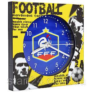 Часы настольные футбольные с будильником F.F.F. FB-1963-F.F.F. (пластик, р-р 12*12см)