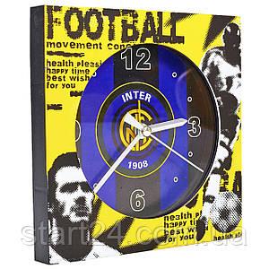 Часы настольные футбольные с будильником INTER FB-1963-INT (пластик, р-р 12*12см)