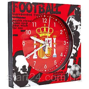 Часы настольные футбольные с будильником SPAIN FB-1963-SPA (пластик, р-р 12*12см)