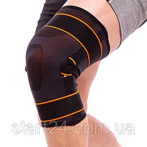 Наколенник-ортез коленного сустава с боковыми шарнирами (1шт) EXCEEDE 875CA (р-р L-XL, черный-оранж)