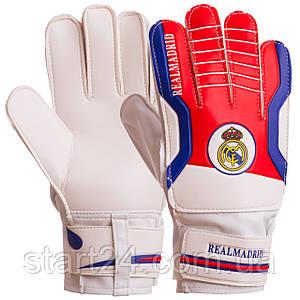 Перчатки вратарские FB-3762-04 REAL MADRID (PVC, р-р 8-10, красный-синий)