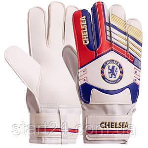 Перчатки вратарские FB-3762-07 CHELSEA (PVC, р-р 8-10, синий-красный)