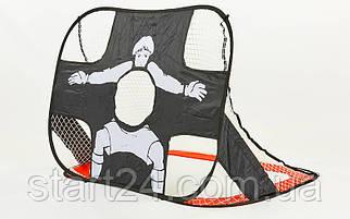 Складні футбольні ворота з відбиваючим екраном (1шт) PORAY PS-SN006 (пластик, сітка, сталевий каркас
