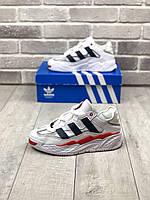 Чоловічі кросівки Adidas Niteball Шкіряні Білі, Репліка Люкс, фото 1