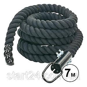 Канат спортивный для лазанья с креплением UR R-6224-7 (хлопок, l-7м, d-4,5см, черный)