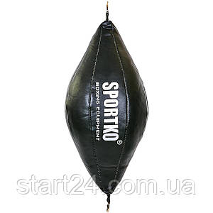Груша набивная Круглая на растяжках SPORTKO UR GK-2 (кожа, нап.-древ.опилки, d-24см,l-50см,вес-5кг, цвета в