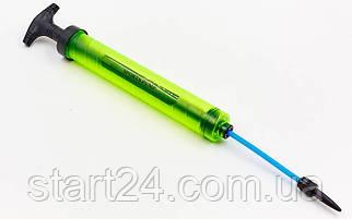 Насос ручний для м'ячів LEGEND FB-5656 (пластик, алюміній, l-33,5 см, d-3,6 см, 1игла, 1насадка)YG2912