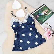 Шелковая пижама женская шорты и футболка, фото 2