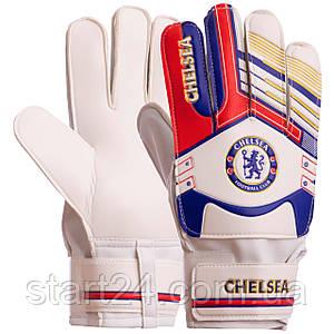 Перчатки вратарские FB-6460-4 CHELSEA (PVC, р-р 8-10, золотой-синий)