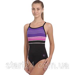 Купальник для плавания слитный женский ARENA MERRY AR-28076-50 размер 32-36-USA черный-синий-розовый