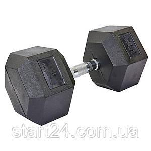 Гантель цельная шестигранная гексагональная SP-Planeta (1шт) SC-8013-35 35кг (сталь хромированная, резина, вес