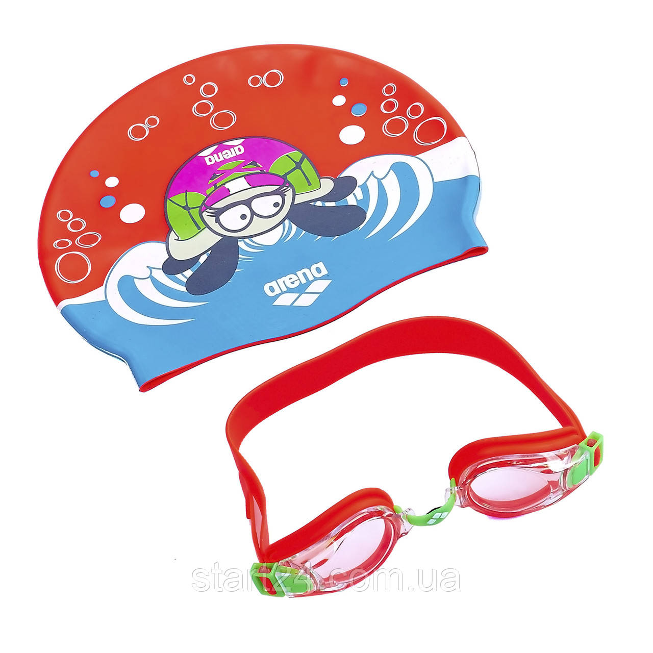 Набор для плавания детский очки и шапочка ARENA AWT MULTI AR-92413 (поликарбонат, термопластичная резина,
