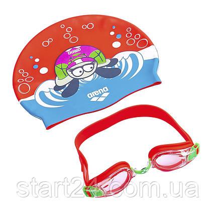 Набор для плавания детский очки и шапочка ARENA AWT MULTI AR-92413 (поликарбонат, термопластичная резина,, фото 2