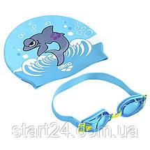 Набор для плавания детский очки и шапочка ARENA AWT MULTI AR-92413 (поликарбонат, термопластичная резина,, фото 3