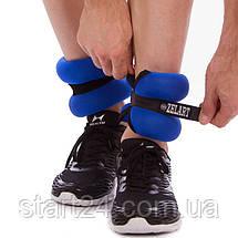 Обтяжувачі-манжети для рук і ніг ZEL-1 AW-1102-4 (2 x 2,0 кг) (верх-неопрен, наповнювач-пісок, синій), фото 2