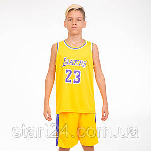 Форма баскетбольная подростковая NB-Sport NBA LAKERS 23 BA-0563 (PL, р-р M-2XL-130-165см, цвета в