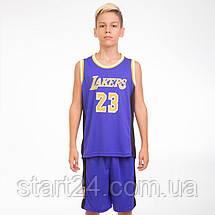 Форма баскетбольная подростковая NB-Sport NBA LAKERS 23 BA-0563 (PL, р-р M-2XL-130-165см, цвета в, фото 2
