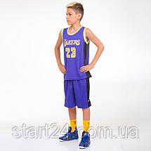 Форма баскетбольная подростковая NB-Sport NBA LAKERS 23 BA-0563 (PL, р-р M-2XL-130-165см, цвета в, фото 3