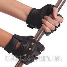 Рукавички для кроссфита і воркаута шкіряні SPORT WorkOut BC-0004 розмір S-XL чорний, фото 2