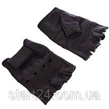 Рукавички для кроссфита і воркаута шкіряні SPORT WorkOut BC-0004 розмір S-XL чорний, фото 3