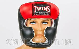 Шлем боксерский с полной защитой кожаный TWINS HGL-3T (M-XL, черный-красный)