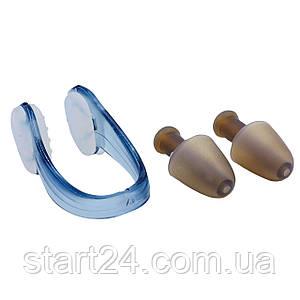Беруши для плавания и зажим для носа в  пластиковом футляре HN-2 (силикон, цвета в ассортименте)