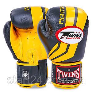 Перчатки боксерские кожаные на липучке TWINS FBGV-43Y-BK (р-р 10-16oz, черный-желтый)