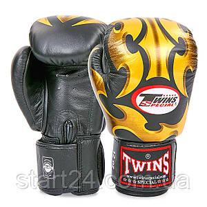 Перчатки боксерские кожаные на липучке TWINS FBGVL3-22GD-BK (р-р 10-18oz, черный-золотой)