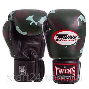 Перчатки боксерские кожаные на липучке TWINS FBGVL3-ARGN (р-р 10-18oz, камуфляж зеленый) FBGVL3-ARGN