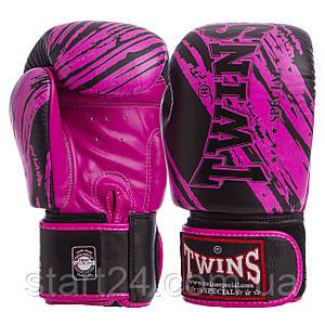 Перчатки боксерские кожаные на липучке TWINS FBGV-TW2PK (р-р 10-12oz, черный-розовый)