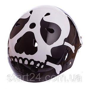 Шлем для экстремального спорта Zelart SKULL SK-5616-015 (ABS, PE, р-р L-56-58,черный-белый)
