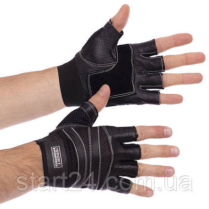 Перчатки для кроссфита и воркаута кожаные SPORT WorkOut BC-1018 размер L-XL цвета в ассортименте, фото 2
